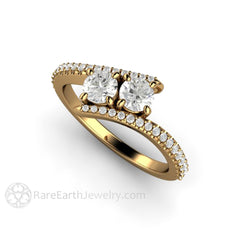 18K Yellow Gold Diamond Wedding Ring 2 Stone Vintage Style with Accent Stones Rare Earth Jewelry