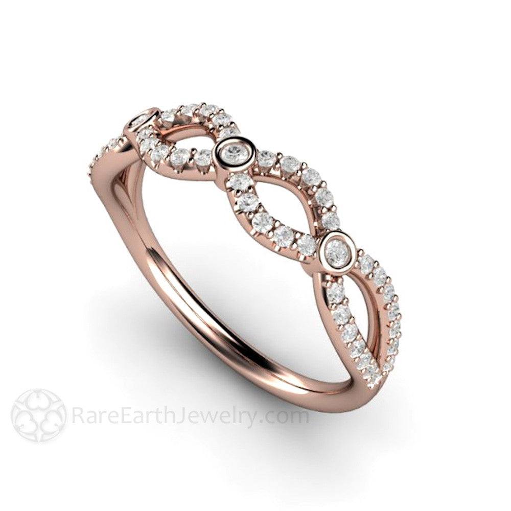 champagne multicolred brown band infinity stackable and gold iconery white cognac rose ring products diamond