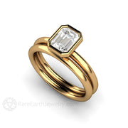 Rare Earth Jewelry 18K Emerald Cut Diamond Wedding Ring Set GIA 1 Carat Bezel Plain Band