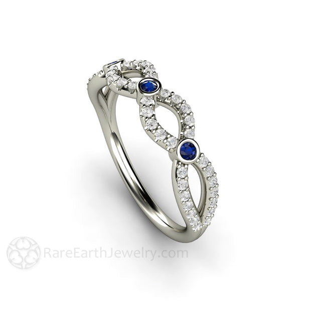 Diamond and Sapphire Promise Ring Infinity Design 18K White Gold Rare Earth Jewelry