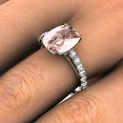 Rare Earth Jewelry Cushion Morganite Right Hand Ring on Finger