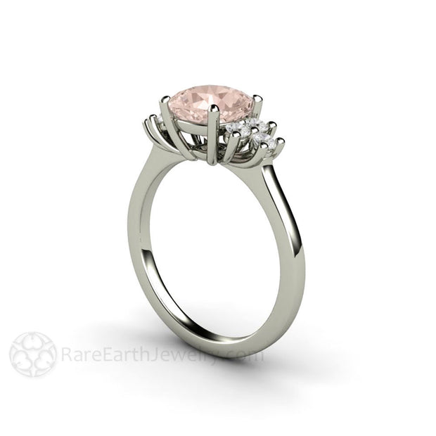 Rare Earth Jewelry Diamond Accented Cushion Morganite Ring 14K White Gold