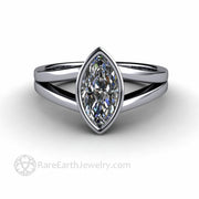 Double Shank Engagement Ring Diamond Alternative Marquise Cut Moissanite Ring in Platinum