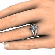 Double Shank Ring on the hand Marquise Cut Moissanite Solitare Engagement Ring