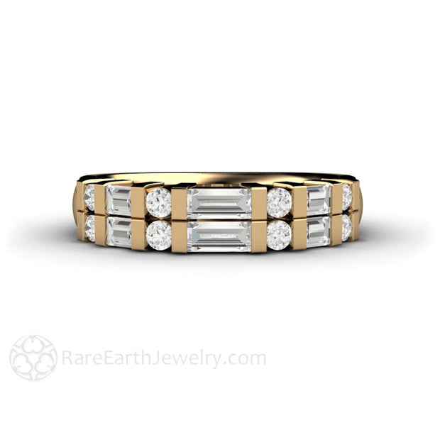 14K Yellow Gold Stackable Diamond Bridal Ring Baguette Cut Diamonds Rare Earth Jewelry