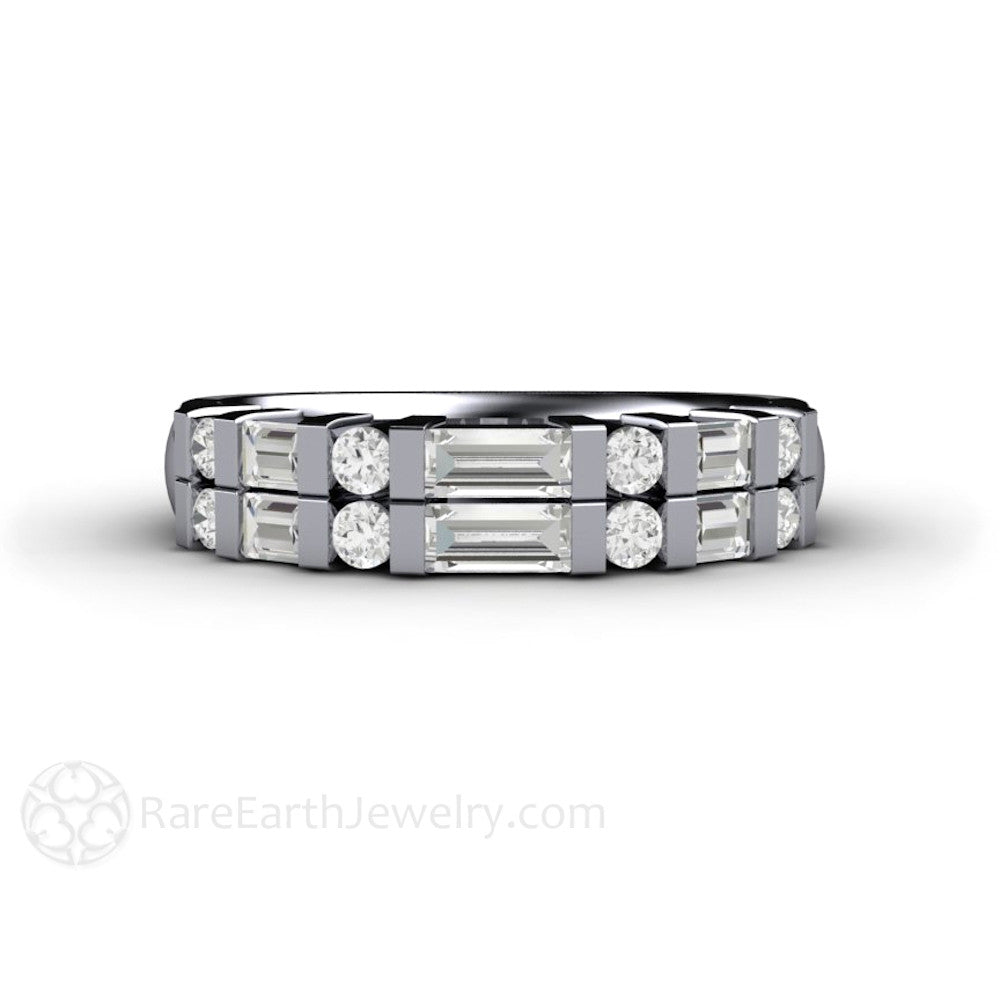 wedding milgrain antique round baguette full band rings diamond white gold art and eternity deco ring