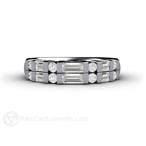 Double Baguette Diamond Wedding Ring or Anniversary Band
