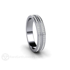 14K White Gold Double Round Cut Pave Diamond Band Rope Detail Rare Earth Jewelry
