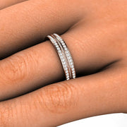 Two Row Diamond Bridal Ring Stacking Band Rare Earth Jewelry