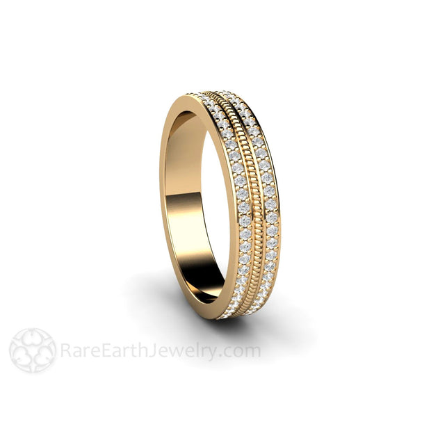 Conflict Free Double Pave Diamond Ring with Rope Detail Rare Earth Jewelry