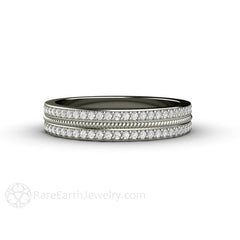 Platinum 2 Row Pave Diamond Ring April Birthstone Stacking Band Rare Earth Jewelry