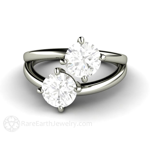 Rare Earth Jewelry 1 Carat Round Cut Moissanite Two Stone Right Hand Ring 18K White Gold 2ct Setting