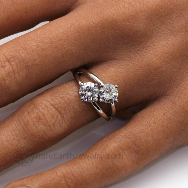 Duo 2 Stone Ring Split Shank in White Gold with Round 6.5mm Forever One Moissanite on the Hand