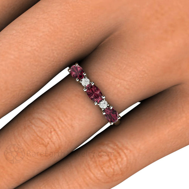 Garnet and Diamond Stacking Ring on Hand Rare Earth Jewelry