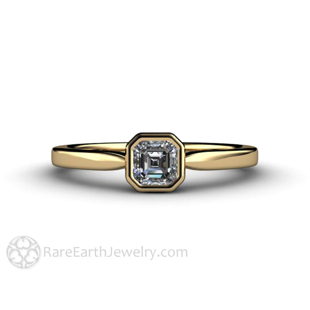 Eco Friendly Diamond Wedding Ring GIA Asscher Simple Solid Gold Bezel Rare Earth Jewelry