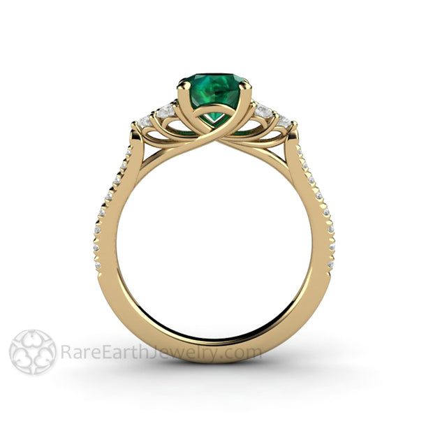 Emerald Bridal Ring 14K Woven Prong Diamond Setting 1 Carat Round Cut Green Gemstone Rare Earth Jewelry