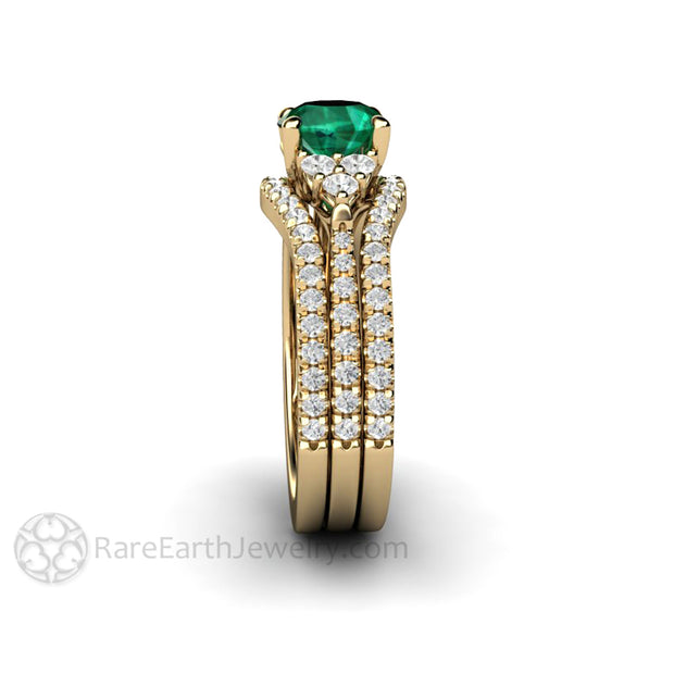 Emerald Bridal Set Double Band with Diamonds 1 Carat Engagement Ring Yellow Gold Three Stone Rare Earth Jewelry