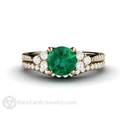Emerald Bridal Set French Pave Wedding Band Diamond Cluster Engagement Ring Rare Earth Jewelry