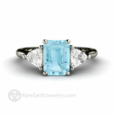Emerald Cut Aquamarine Engagement Ring Simple 3 Stone Design Natural Blue Gemstone Ring handmade by Rare Earth Jewelry
