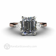 Grey Moissanite Engagement Ring Unique Emerald Cut Three Stone Design