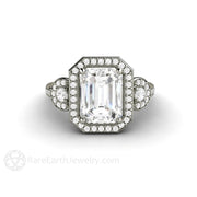 Emerald Cut Three Stone Moissanite Engagement Ring with Diamond Halo Ethical Diamond Alternative by Rare Earth Jewelry