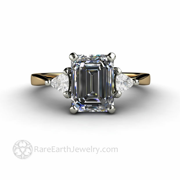 Gray Moissanite 3 Stone Ring Affordable Alternative Engagement Rings