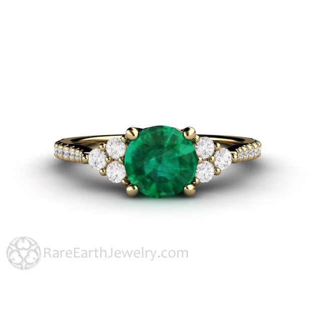 Emerald Engagement Ring with French Pave Diamonds May Birthstone 14K Yellow Gold Rare Earth Jewelry