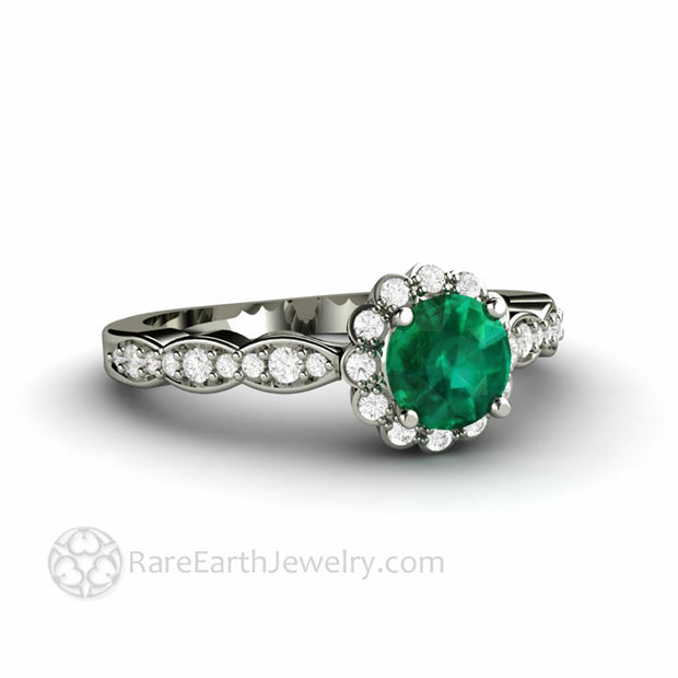 Affordable Emerald Engagement Ring Pretty Feminine Style Diamond Halo by Rare Earth Jewelry