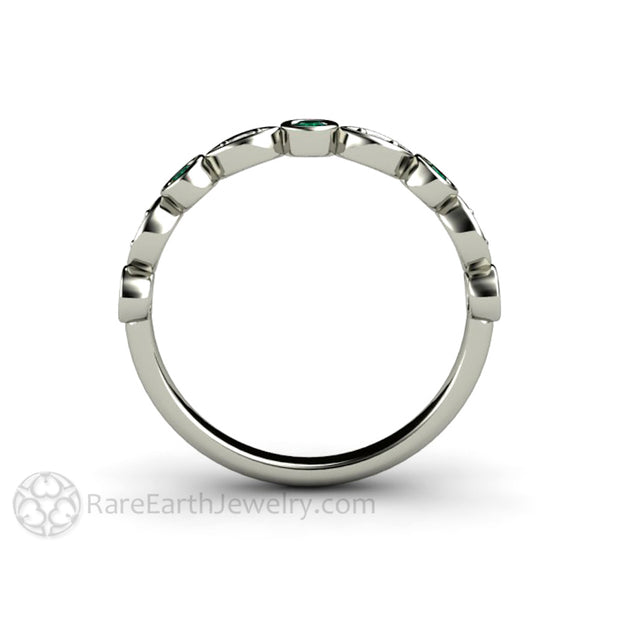 Emerald Stackable Wedding Band Diamond Accented 14K White Gold Rare Earth Jewelry