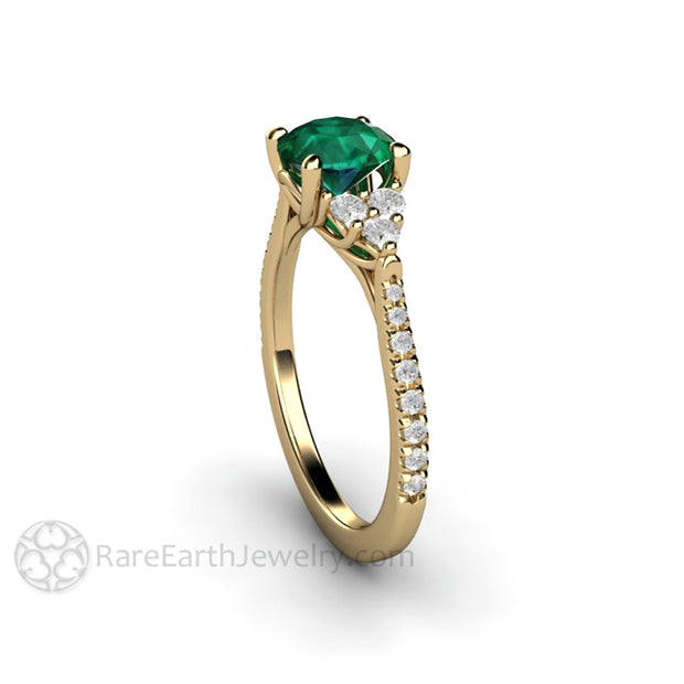 Emerald Wedding Ring Woven Prong Diamond Accented 14K Yellow Gold Rare Earth Jewelry