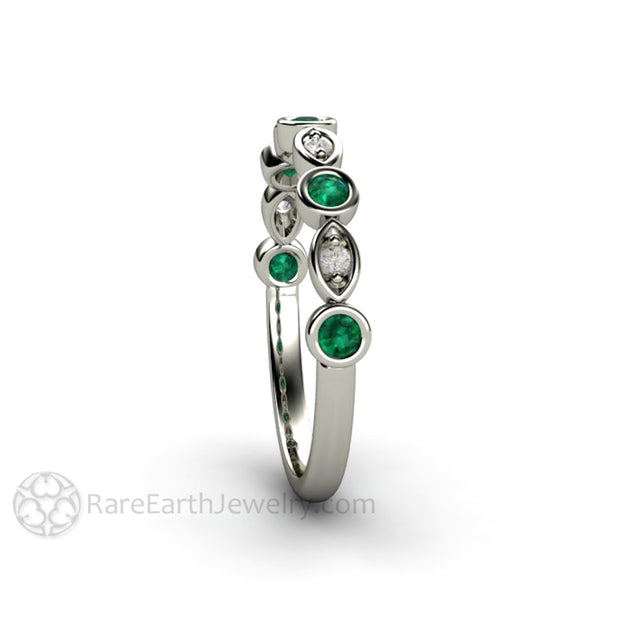 Emerald and Diamond Anniversary Ring Stackable Band 14K White Gold with Round Cut Gemstones Rare Earth Jewelry