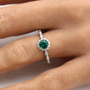Round Green Emerald Ring on the Finger Handmade Unique Engagement Rings by Rare Earth Jewelry