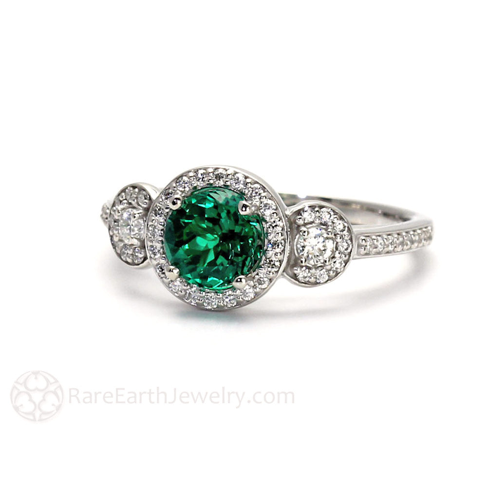 Emerald and Diamond Engagement Ring 3 Stone Setting – Rare ... - photo#42