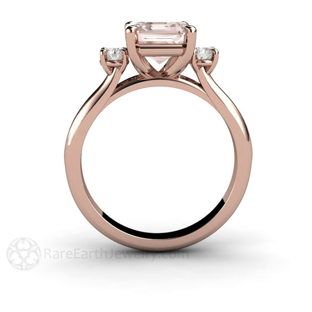 Rare Earth Jewelry 3 Stone Morganite Ring 14K Rose Gold Emerald Cut