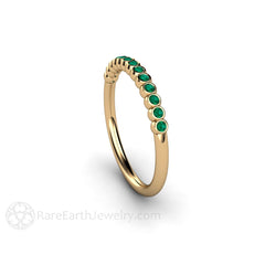 Bezel Set Green Emerald Ring May Birthstone Rare Earth Jewelry