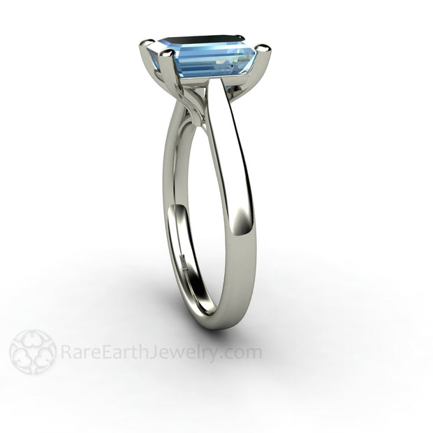 Aquamarine Solitaire Bridal Ring 14K Emerald Cut Rare Earth Jewelry