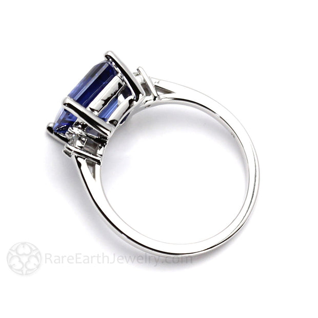 3 Stone Blue Sapphire and Diamond Ring 4.5ct Emerald Cut Rare Earth Jewelry