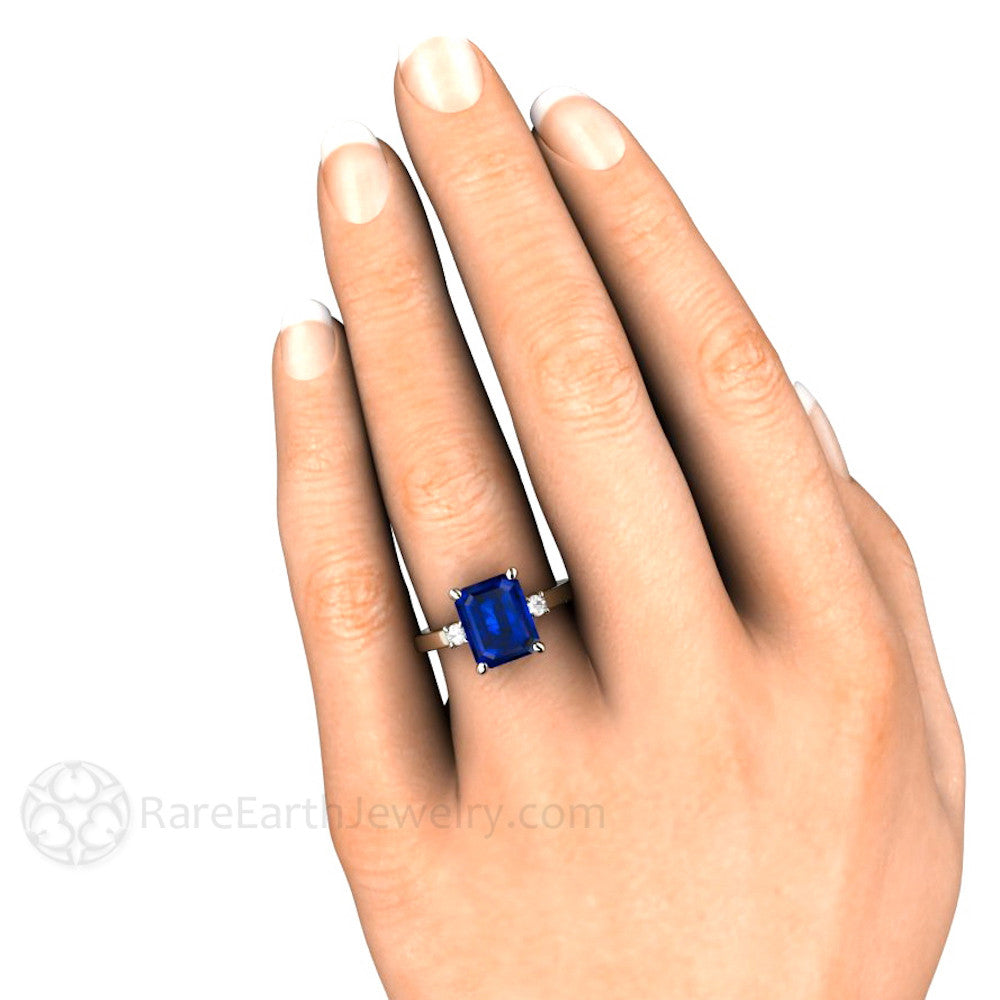 Blue Sapphire And Diamond Engagement Ring Emerald Cut
