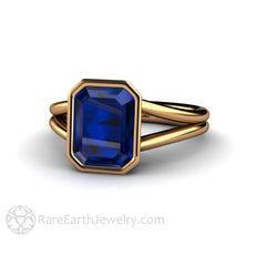 Emerald Cut Blue Sapphire Bridal Wedding Ring Rare Earth Jewelry