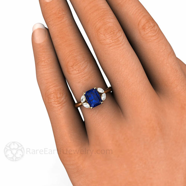 5 Stone Emerald Blue Sapphire Ring on Finger Rare Earth Jewelry