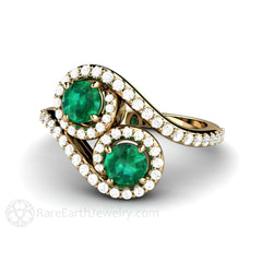 Emerald Anniversary or May Birthstone Ring Round Cut 14K Halo 2 Stone Style Rare Earth Jewelry
