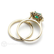 Princess Emerald with Moissanite Halo Bridal Set Rare Earth Jewelry
