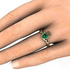 Green Emerald Claddagh Ring on Finger Rare Earth Jewelry