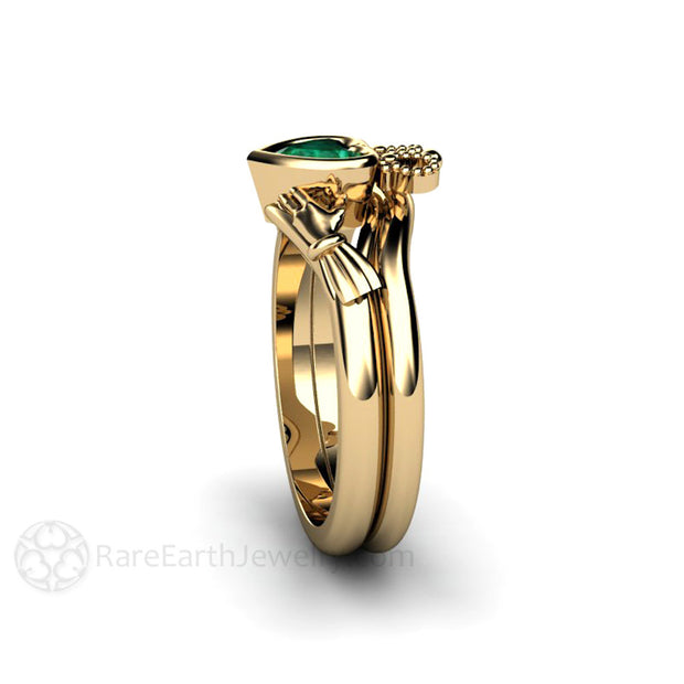 Heart Cut Green Emerald Bridal Wedding Band Set Bezel Claddagh Setting Rare Earth jewelry