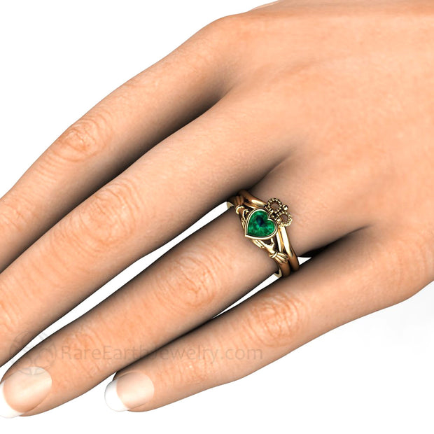 Claddagh Emerald Wedding Band Set on Finger Rare Earth Jewelry