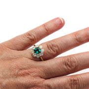Princess Cut Green Emerald Bridal Ring on Finger Rare Earth Jewelry
