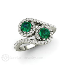 Vintage Style 2 Stone Emerald Ring with Diamond Halo 14K White Gold Round Cut Rare Earth Jewelry