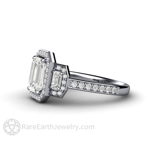 Rare Earth Jewelry Moissanite Anniversary Ring Diamond Halo Emerald Cut