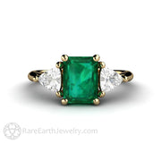 Three Stone Green Emerald Engagement Ring with White Sapphire Trillions in Gold by Rare Earth Jewelry