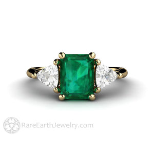 Rare Earth Jewelry Emerald Anniversary Ring Vintage Style 3 Stone Setting with Sapphire Side Stones 14K Gold